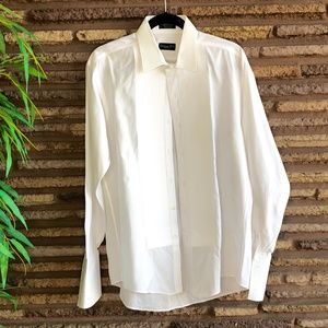 Christian Dior White Formal Pleated Tuxedo Shirt